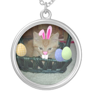 Easter Orange Tabby Kitty Cat Silver Plated Necklace