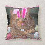 Easter Orange Tabby Kitty Cat Throw Pillow