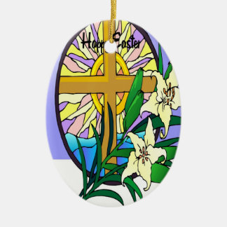 Easter Double-Sided Oval Ceramic Christmas Ornament