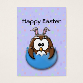 Easter owl - blue business card