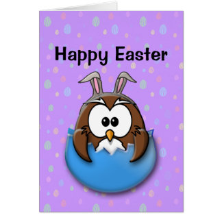 Easter owl - blue card