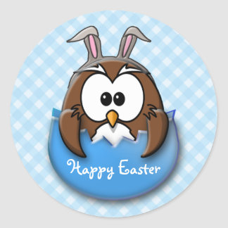 Easter owl - blue classic round sticker
