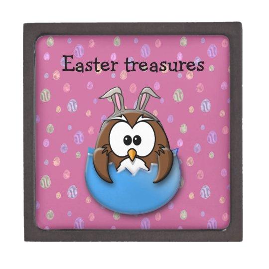 Easter owl - blue gift box
