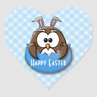 Easter owl - blue heart sticker
