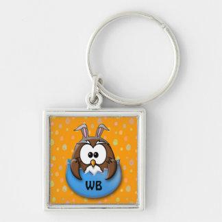 Easter owl - blue keychain