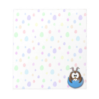Easter owl - blue notepad