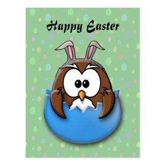 Easter owl - blue postcard