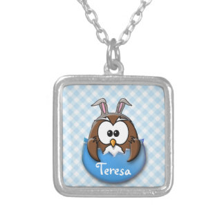 Easter owl - blue silver plated necklace