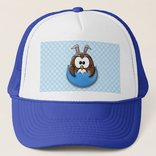 Easter owl - blue trucker hat