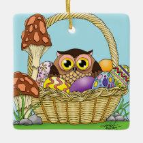Easter Owl Ceramic Ornament