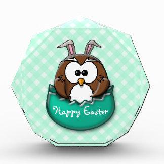 Easter owl gingham - green awards