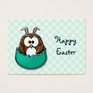 Easter owl gingham - green business card