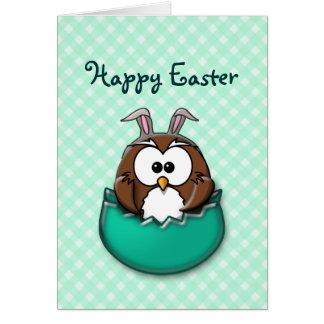 Easter owl gingham - green card
