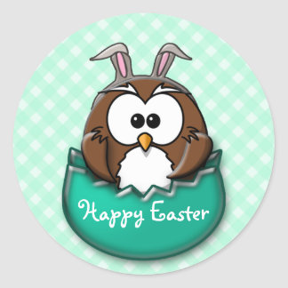 Easter owl gingham - green classic round sticker