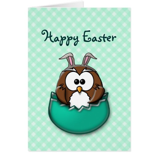 Easter owl gingham - green greeting cards
