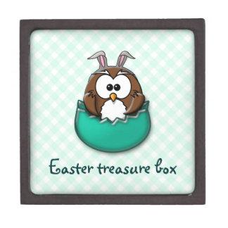 Easter owl gingham - green keepsake box
