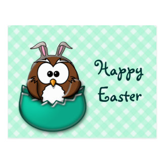Easter owl gingham - green postcard