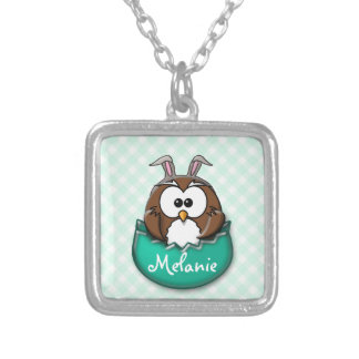 Easter owl gingham - green silver plated necklace
