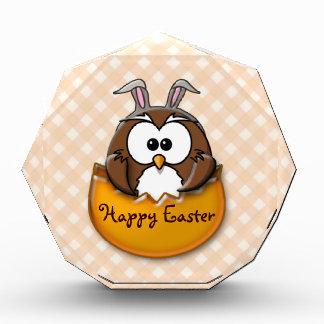 Easter owl gingham - orange acrylic award