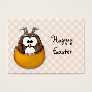 Easter owl gingham - orange business card