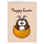 Easter owl gingham - orange cards