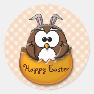 Easter owl gingham - orange classic round sticker
