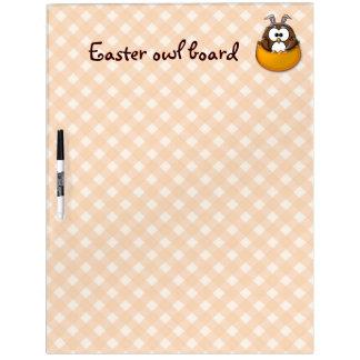 Easter owl gingham - orange dry erase board
