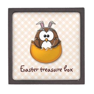 Easter owl gingham - orange gift box