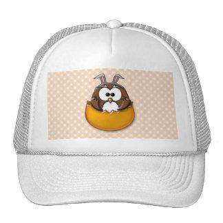 Easter owl gingham - orange trucker hat