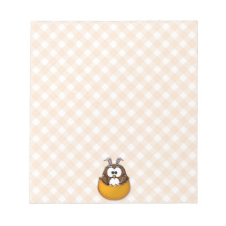 Easter owl gingham - orange notepad
