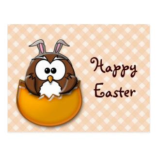 Easter owl gingham - orange postcard