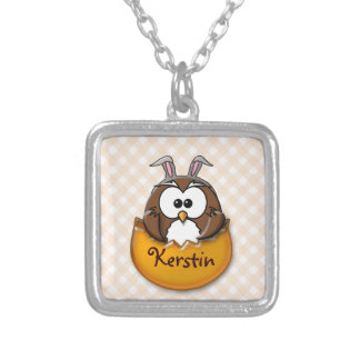 Easter owl gingham - orange silver plated necklace