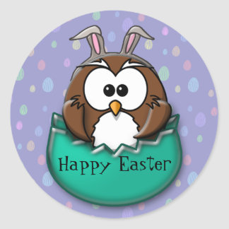 Easter owl - green classic round sticker