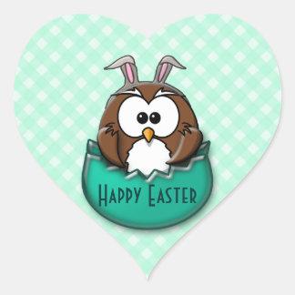 Easter owl - green heart sticker
