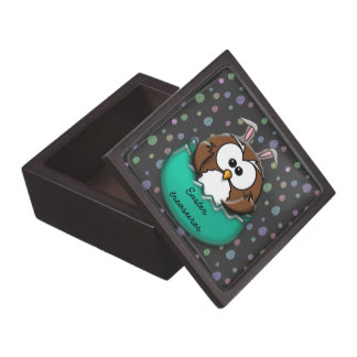 Easter owl - green jewelry box