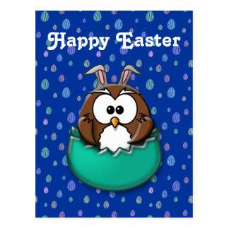 Easter owl - green postcard