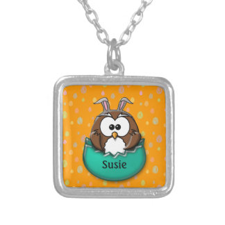 Easter owl - green silver plated necklace