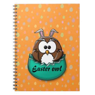 Easter owl - green spiral notebook