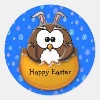 Easter owl - orange classic round sticker