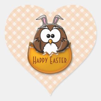 Easter owl - orange heart sticker
