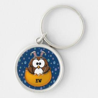 Easter owl - orange keychain