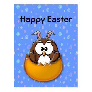 Easter owl - orange postcard