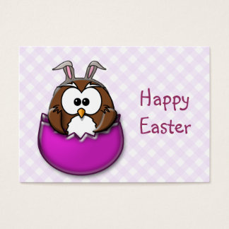 Easter owl - pink business card