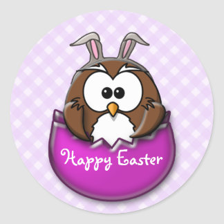 Easter owl - pink classic round sticker
