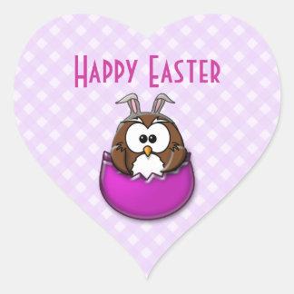 Easter owl - pink heart sticker