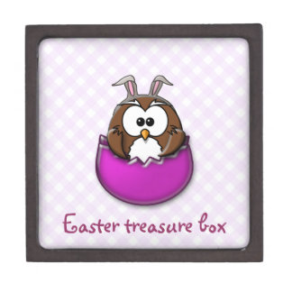 Easter owl - pink jewelry box