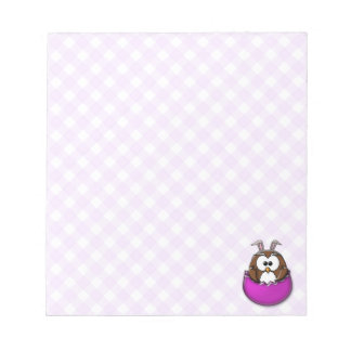 Easter owl - pink notepad