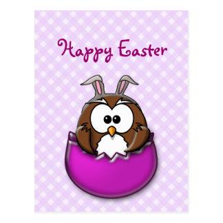 Easter owl - pink postcard