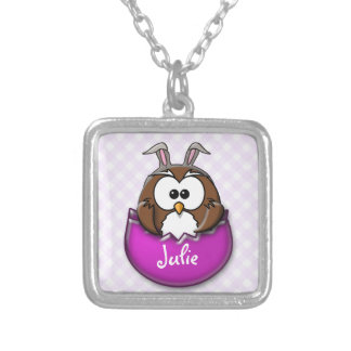Easter owl - pink silver plated necklace