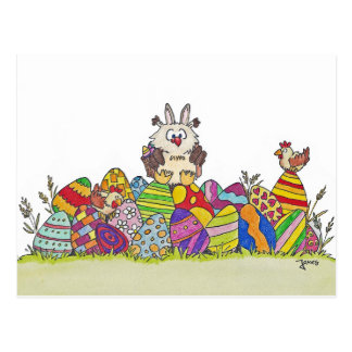 EASTER OWL postcard by Nicole Janes